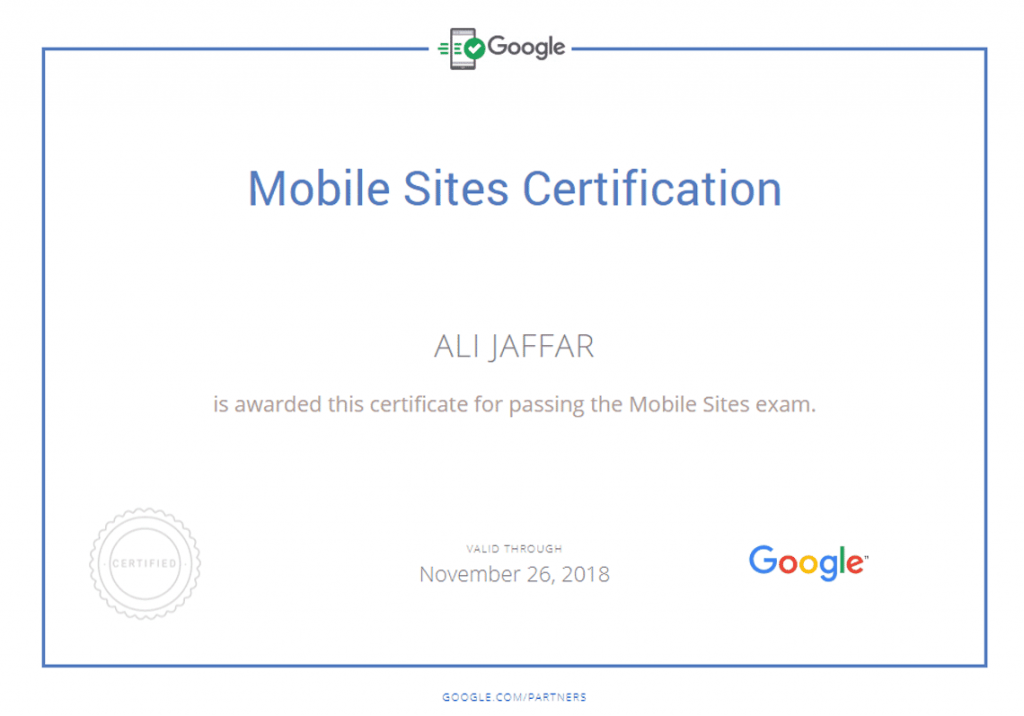 Mobile Sites Expert - Certified by Google Partners