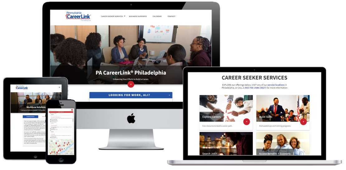 Web design and development for Philadelphia's PA CareerLink organization