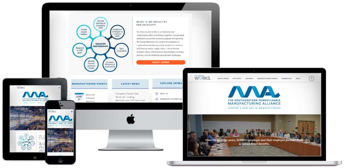 Mobile-first association website design, prototype and development for a Philadelphia-based industry partnership